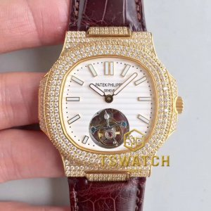 PP22900 - Nautilus Jumbo 5711 40mm Full Diamond YG Croco Seagull Handwinding Tourbillon