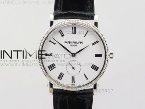 PP@6 SS Best Edition White Dial on Black Leather Strap