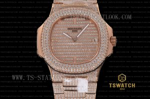 PP22353 - Patek 5719 Nautilus Full Diamond High Grade RG A324